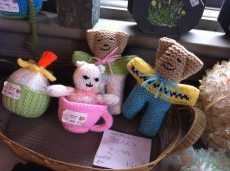 Knitted teddies in the honesty shop